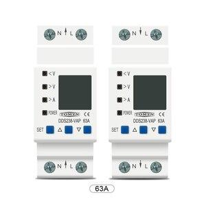 Image 4 - 63A 80A 110V 230V Din rail adjustable over under voltage protective device current limit protection Voltmeter ammeter Kwh