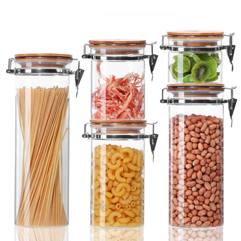 Stainless Steel Buckle Glass Sealed Storage Tank Transparent Kitchen Candy Snack Jar Round Glass Jars and Lids Cereal Dispenser