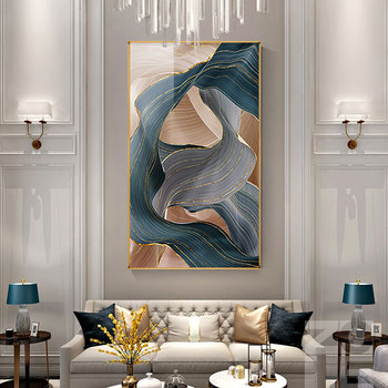 Nordic Canvas Painting Modern Abstract Luxury Ribbon Posters Prints Wall Pictures for Living Room Bedroom Decor Gold Art Poster
