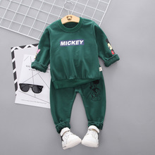 Spring and Autumn fashion cartoon Mickey Weiyi baby two-piece suit