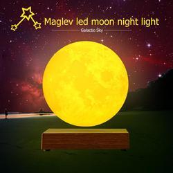 Магнитная левитация светодиодный светильник с сенсорным управлением луна ночь креативный 3D принт декоративное освещение день рождения, Де...