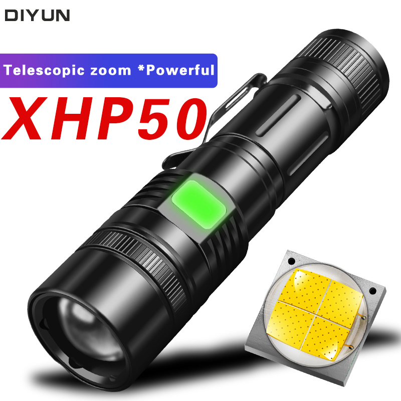 Powerful 60000LM LED Flashlight XHP50 LED Flashlight USB Rechargeable Torch Zoom 5Mode Flashlight Lantern Use18650/26650 Battery
