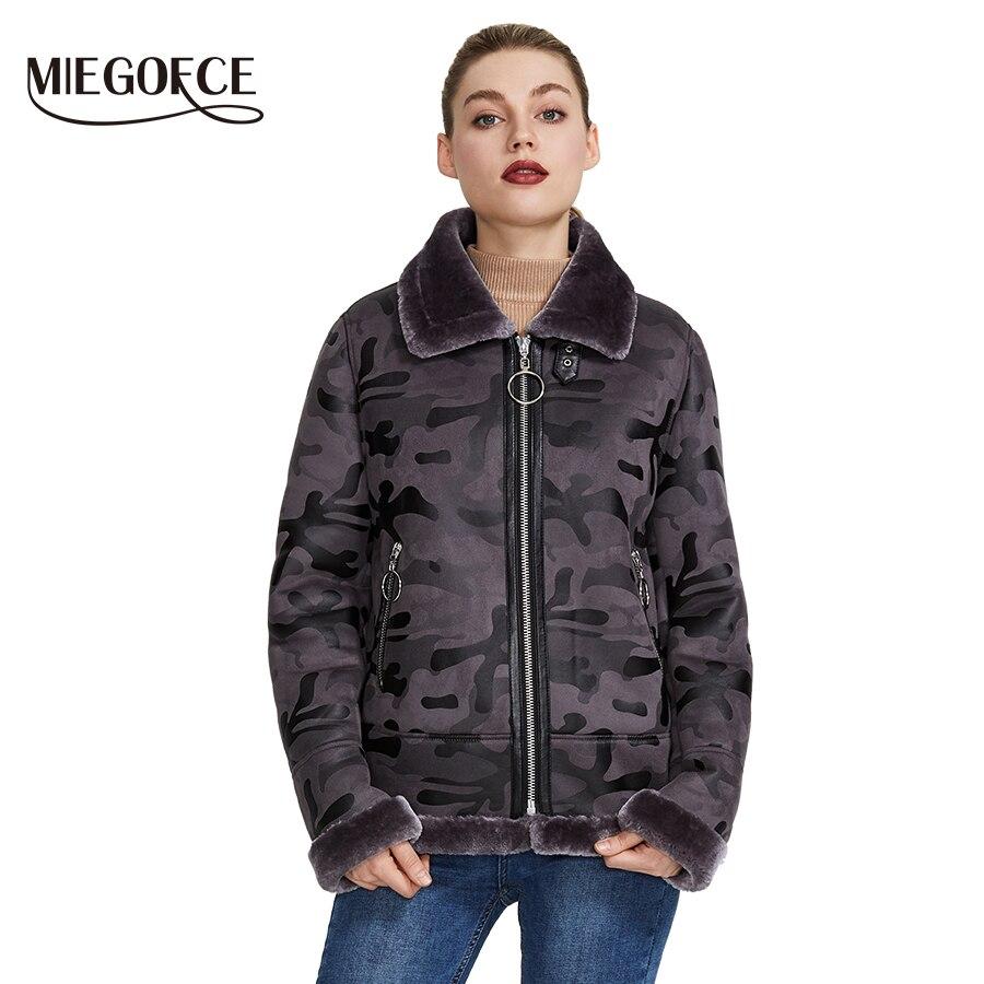 Miegofce 2019 nova coleção feminina de inverno jaqueta de pele do falso casaco de inverno feminino comprimento da cintura à prova de vento colar resistente com pele
