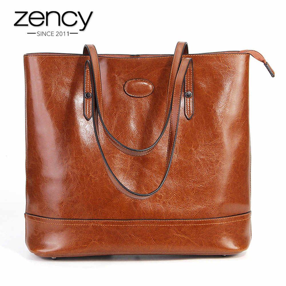 Zency 100% Genuino Moda In Pelle Marrone Delle Donne Borsa A Tracolla Grande Capacità di Borse per la Spesa Nero Tote Borsa di Alta Qualità Borse