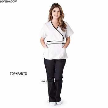 Women Scrub Top/Scrub Set Dentist Spa Uniforms Vet Workwear Clothes Mock Wrap V Neck Top Elastic Waist Drawstring Scrub Pants
