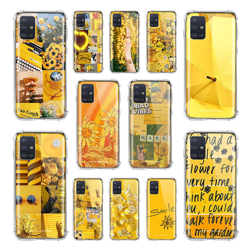 Yellow Flower Love Aesthetic Art Case For Samsung Galaxy A51 A71 5g M31 A41 A31 A11 A01 M51 M21 Airbag Anti Fall Tpu Phone Cover Fitted Cases Aliexpress