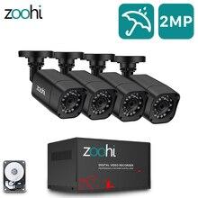 Охранная система видеонаблюдения Zoohi, AHD, 1080P, DVR комплект, водонепроницаемая домашняя система видеонаблюдения, HDD, P2P, HDMI