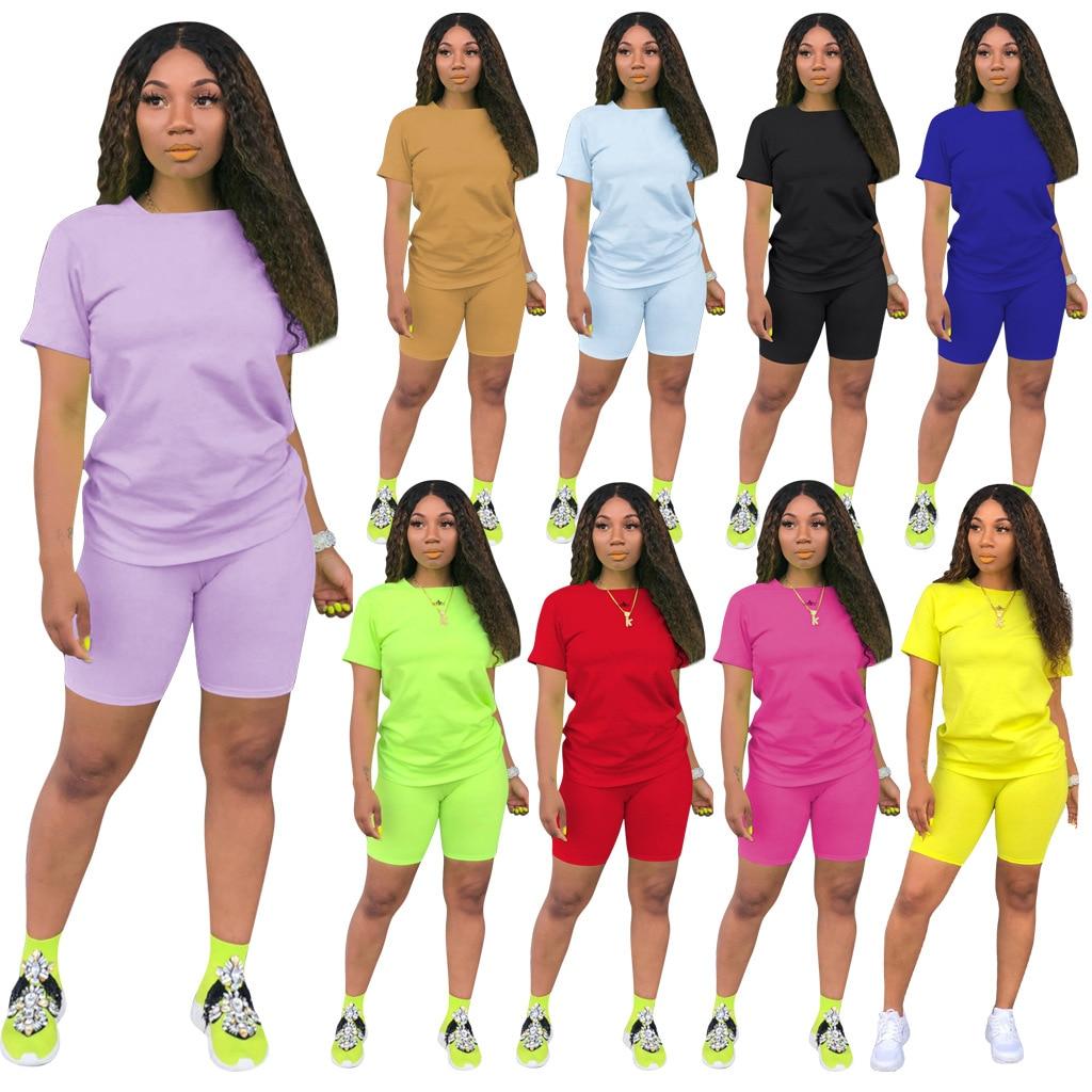 2020 Two Piece Set Women Clothes Pure Color T- Shirt & Biker Shorts Set Sweat Suits Lounge Wear Outfits Matching Sets