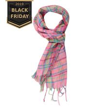 New Fashion Plaid Scarf Autumn Winter Children Baby Girls Kids Pink Cotton Polyester Blended Soft Warm Scarf Wholesale