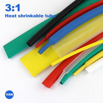 Tubo termo retráctil de doble pared gruesa, 1m-1,6/2,4/3,2/4,8/6,4/7,9/9,5mm pegamento relación 3:1 tubo retráctil adhesivo de envoltura de cables, tubo de encogimiento por calor 3