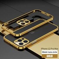 Custodia protettiva in metallo antiurto per iPhone 12 Pro MAX 12 Mini Coque custodia protettiva per fotocamera con cornice in alluminio placcato di lusso