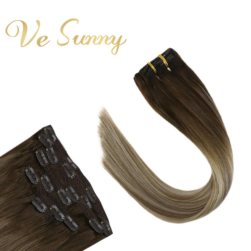 VeSunny Double Weft Clip In Hair Extensions Real Human Hair 7pcs 120gr Clip On Balayage Brown Ombre Blonde Highlights #4/14/60