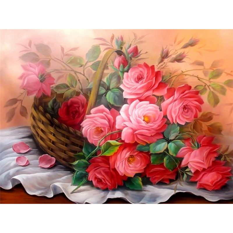 Cross Stitch 5D  Decoration Diamond Painting DIY Flowers in a Basket