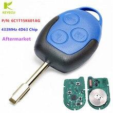 KEYECU Aftermarket TRANSIT дистанционный ключ-брелок от машины 3 Button 433MHz 4D63 Chip для Ford Transit WM VM 2006-2014 P/N: 6C1T15K601AG