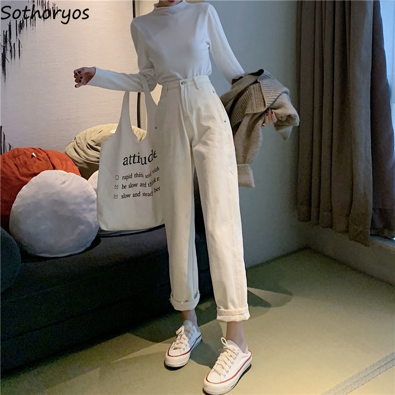 Women Jeans Ankle-length Straight Female Trousers Loose BF Womens Casual Daily Korean Style Simple Trendy All-match Chic Retro