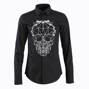 Skull Spell Block Long Sleeve Men Shirt Printing Shirt Male Men's Wear Product