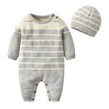 Autumn fashion knitted jumpsuit cotton grey sweater 2 sets Hooded ropa de