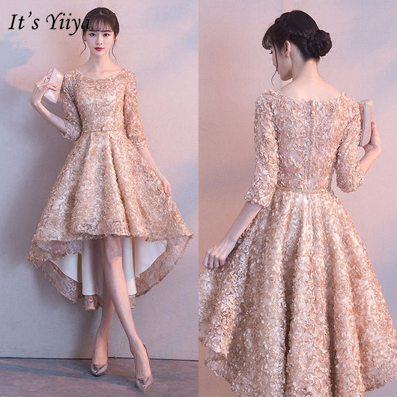 It's YiiYa Bridesmaids Dresses 2019 Half Sleeve Elegant Floral Appliques Tea-Length Dresses Zipper Slim Short Formal Dress YS031