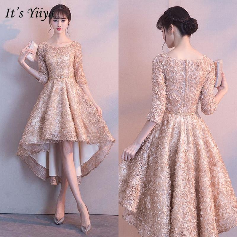 It's YiiYa Bridesmaids Dresses 2019 Half Sleeve Elegant Floral Appliques Tea-Length Dresses Zipper Slim Short Formal Dress YS031