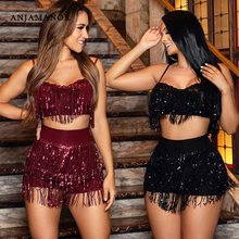 ANJAMANOR Sexy Club Two Piece Set Sequin Fringe Glitter Beach Party Outfits 2 Pc