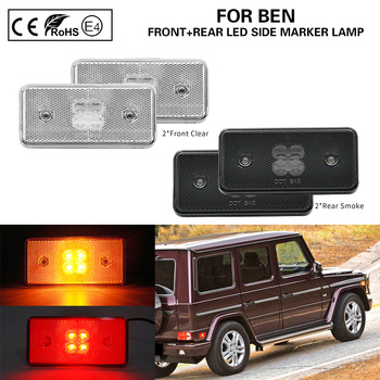 2xFront Clear+2xRear Smoke LED Side Marker Lamp Turn Indicator Lamps USA Version for Benz Merchedes G500 G550 G55 G63