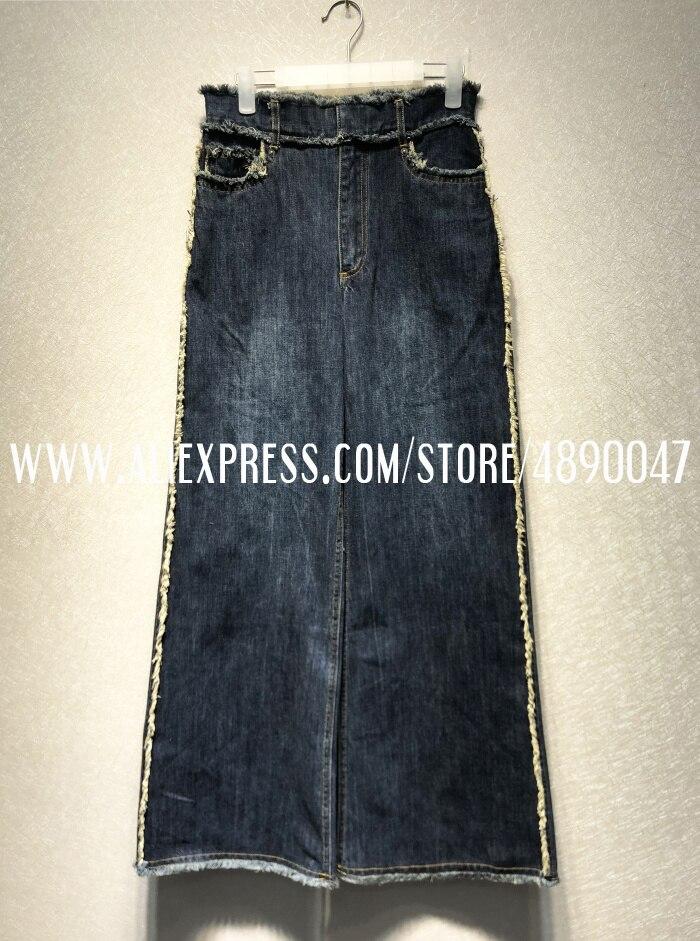 Новинка, женские джинсовые широкие брюки, джинсы с талией, женские повседневные джинсовые штаны высокого качества - Цвет: Синий