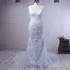 Image 1 - Vestido de novia wuzhiy, Vestido de novia sexy de sirena con cremallera, Vestido de novia sin mangas, Vestido de novia personalizado, Vestido de boda 2020