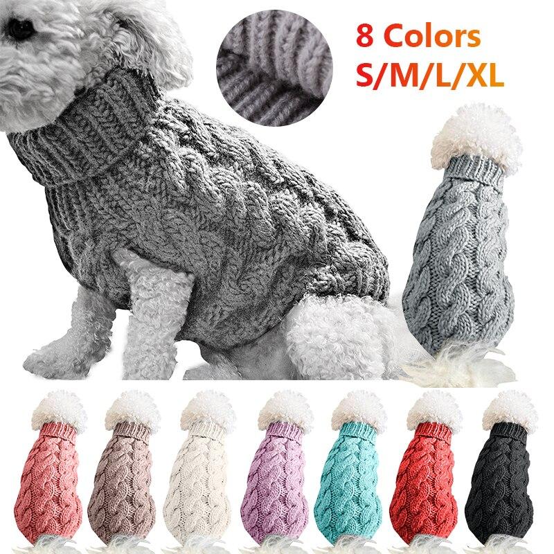 Зимняя трикотажная одежда для собак, теплый джемпер, свитер для маленьких больших собак, верхняя одежда для питомца, вязаная крючком ткань, трикотаж, Perro #15