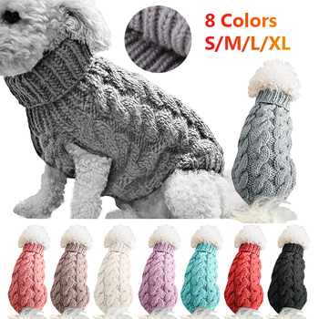 Winter Warm Dog Cat Sweater Clothing Turtleneck Knitted Pet Cat Puppy Clothes Costume For Small Dogs Cats Chihuahua Outfit Vest