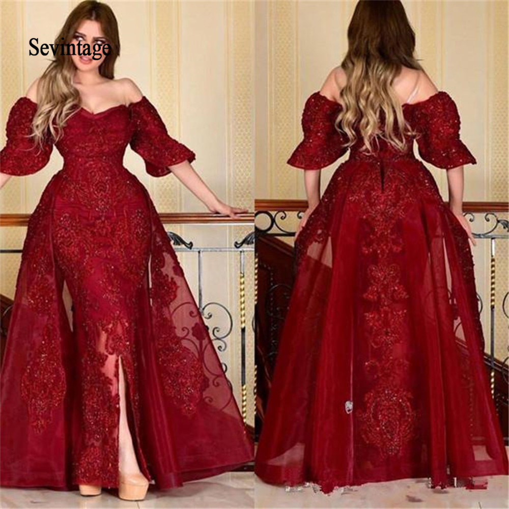 Sevintage 2020 Red Mermaid Puff Short Sleeve Evening Dresses Arabic Prom Formal Gowns Off The Shoulder Lace Party Dress