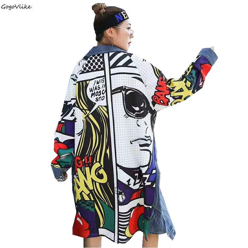 Harajuku Cartoon Patchwork Windbreaker Girls Vintage Women Long Denim   Trench   Coat Woman Spring Autumn Jeans Casaco LT141S30