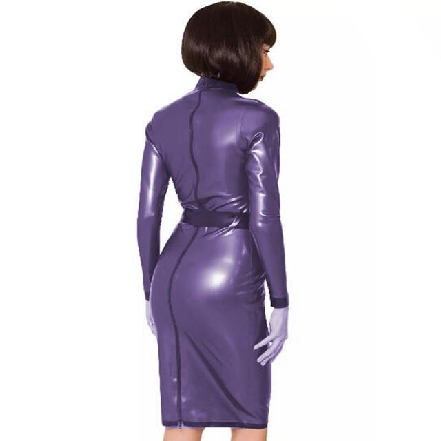 24 Colors Back Zipper Long Sleeve Knee Length Dress Lady Slim Vestido Fashion Patchwork Color Midi Dress Sexy Stage PVC Clubwear 3