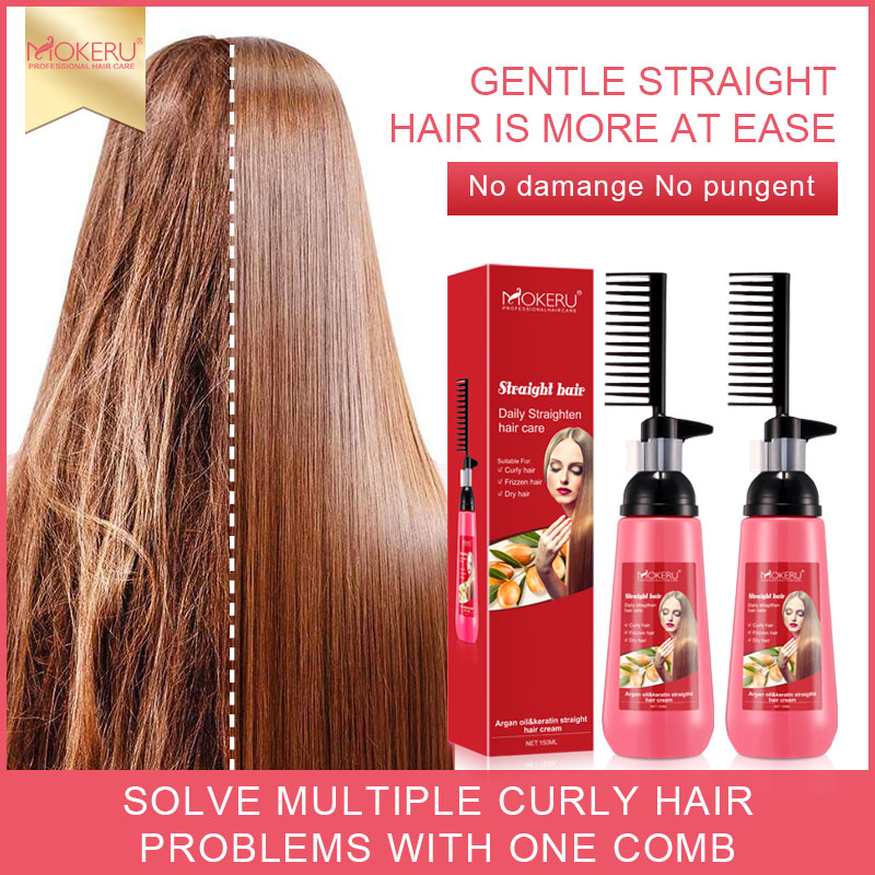 Mokeru 150ml 2Pc/Lot Argan Oil Extract Natural Smoothing Hair Relaxer Straightening Cream for Woman Straight Hair Care Treatment