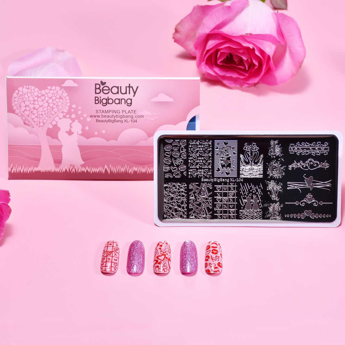 BeautyBigbang Nail Stamping Piatti Nuovo Cigno Sveglio Gatto Lips Cuore Dolce Modello Unghie Artistiche Francobolli Template XL-104