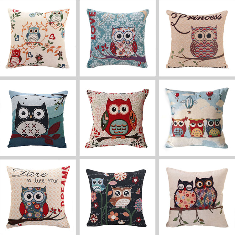Owl Cushion Printed Linen Cotton Jacquard Pillow 45*45 For Sofa Chair Bed Decorative Pillow
