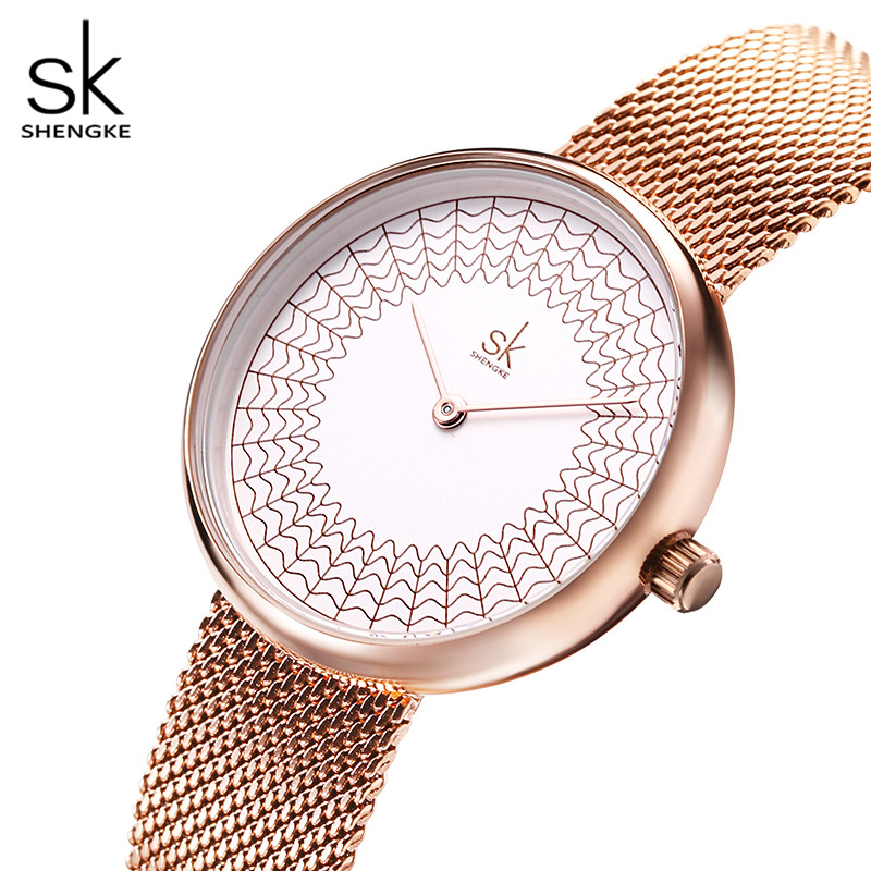 Image 3 - Shengke robe femmes montres femmes métal maille mode horloge Vintage Design dames montre 2020 SK marque de luxe classique relogioMontres femme   -