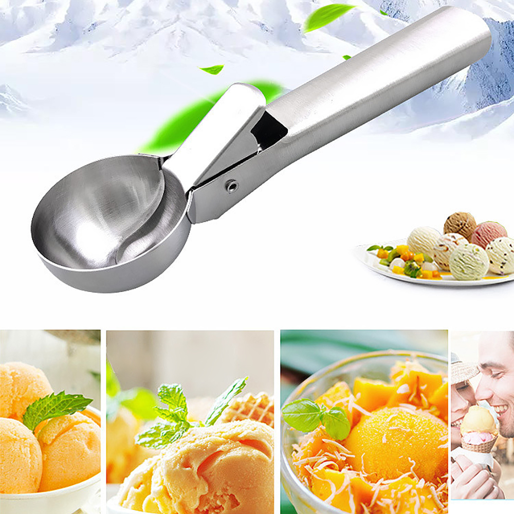Stainless Steel Ice Cream Scoop Metal Cookie Scoop Spoon Melon Baller Fruit Ice Ball Maker Scooper For Ice Cream Kitchen Tools image