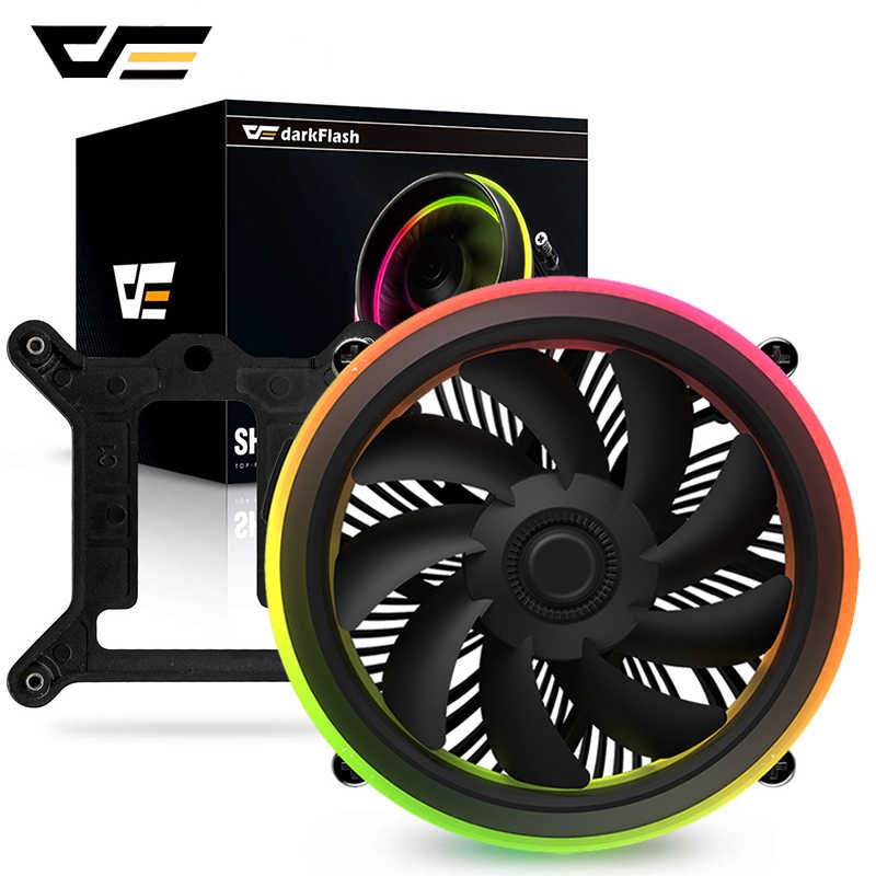 Darkflash CPU Cooler Aura Sync DP Mulai dari 280W Double Ring LED Fan 4pin PWM Radiator Pendingin CPU Cooler untuk Intel core I7/I5/I3 Shadow