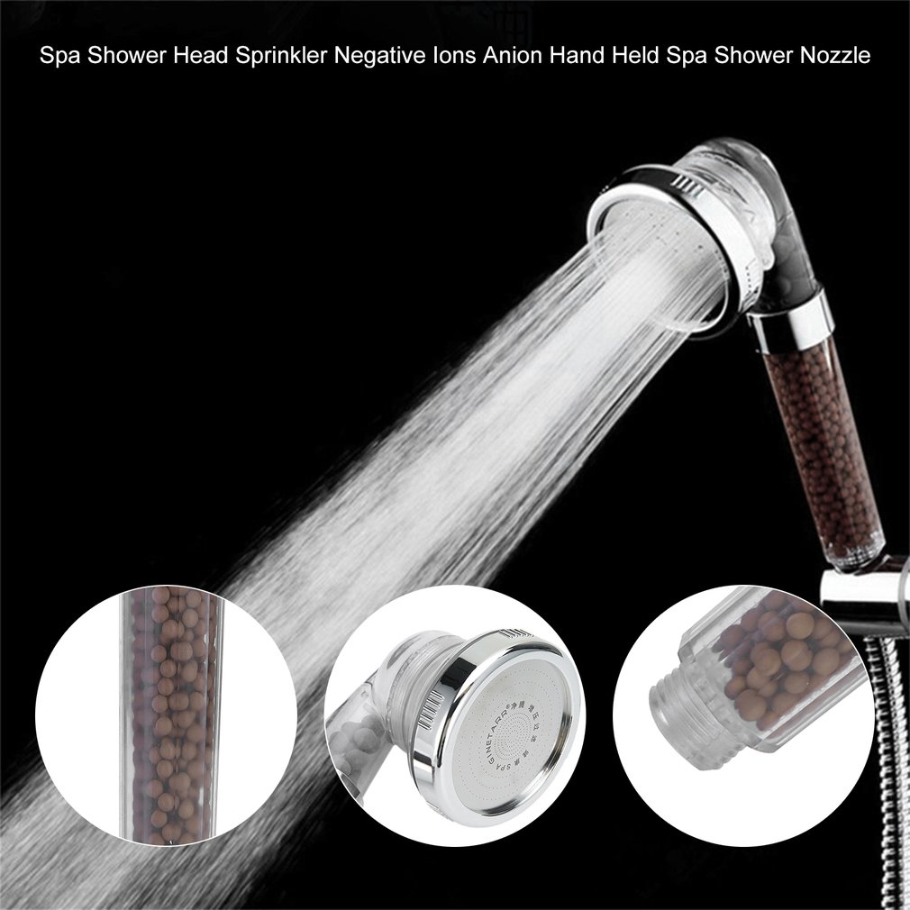 Healthy Negative Ion SPA Filtered Adjustable Shower Head With Shower Hose Three Shower Mode Negative Lon SPA ShowerHead Dropship