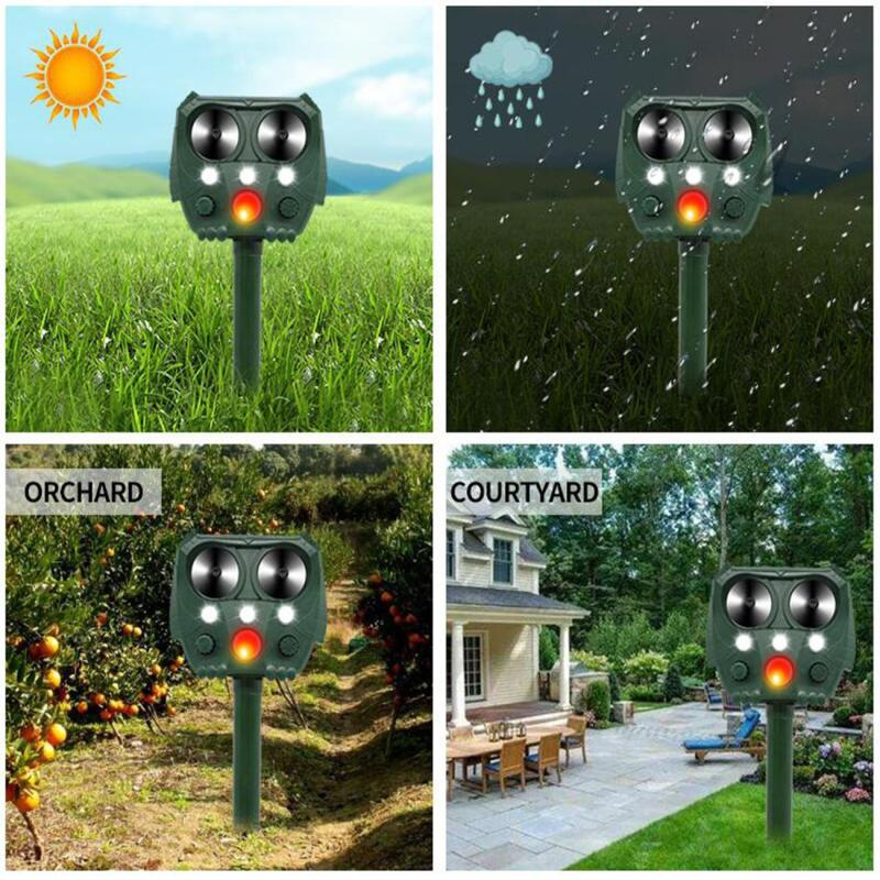 Dreamburgh Solar Ultrasonic Power Pest Animal Repeller Garden Outdoor Cat Dog Fox Deterrent Solar Powered Scarer Repellent