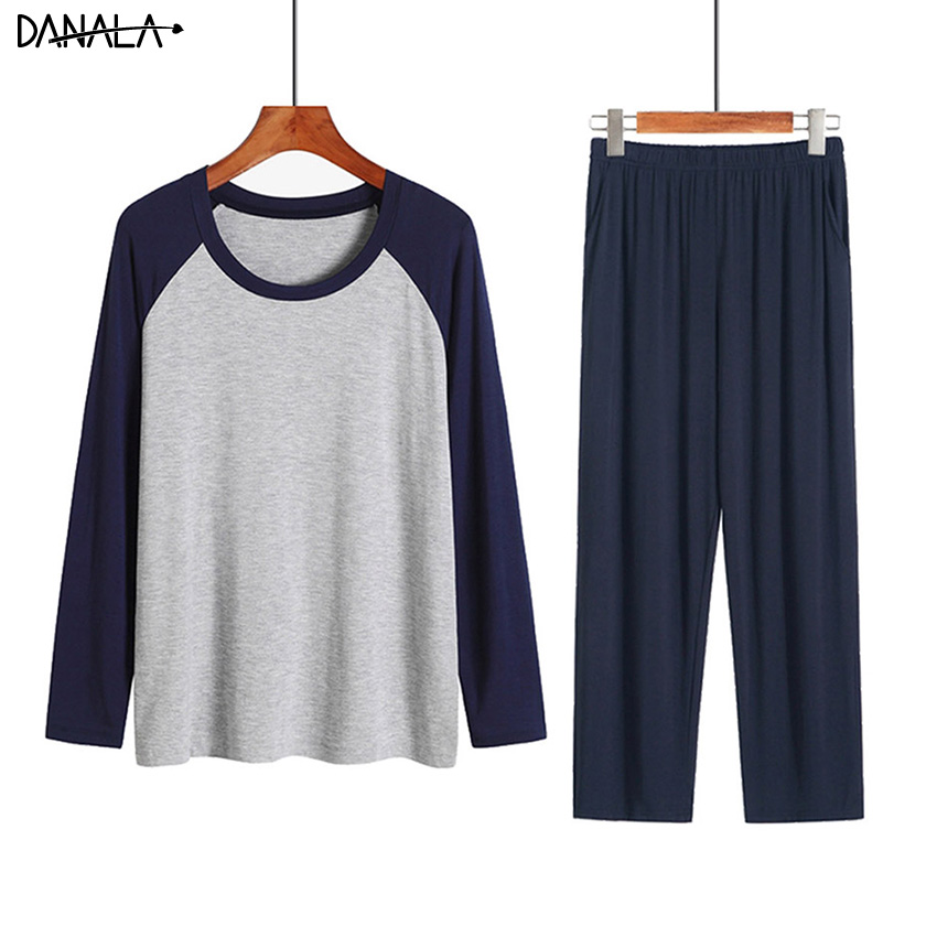 DANALA Men Sleepwear Sets Winter Autumn Soft Warm Modal Pajamas Long Sleeve O-Neck Casual Male Pyjamas Home Clothes For Men