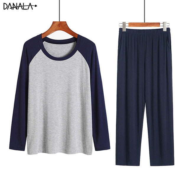 DANALA Men Sleepwear Sets Winter Autumn Soft Warm Modal Pajamas Long Sleeve O Neck Casual Male Pyjamas Home Clothes For Men