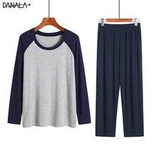 Danala men pijamas conjuntos de inverno outono macio quente modal pijamas manga longa o pescoço casual masculino pijamas para casa