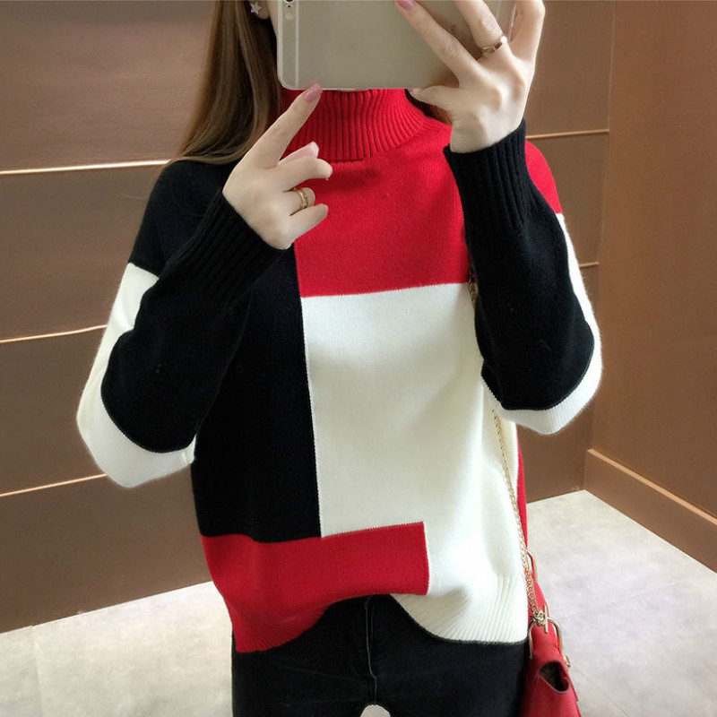 Neploe Pullover Jumper Sweaters Turtleneck Knitted Long-Sleeve Thick Winter Patckwork