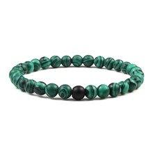 Natural Green Malachite Stone Lava Bracelets Women Men Strand Charm Buddha Beads Bracelet Yoga Prayer Handmade Jewelry Gift