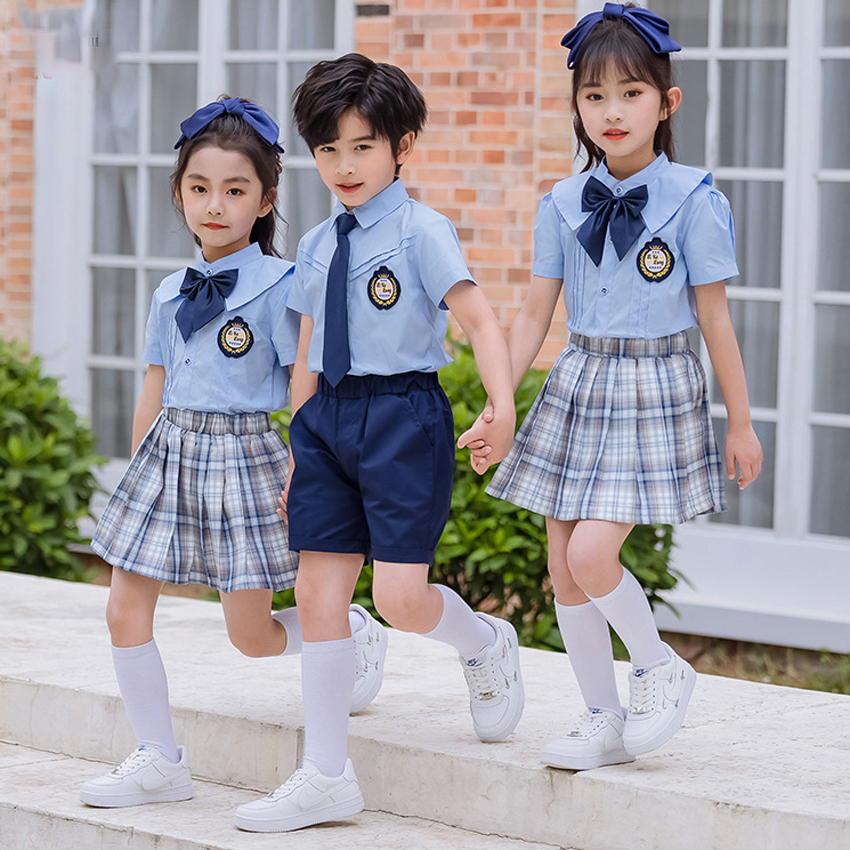 Anime Cosplay Costume School Uniforms Student Kids Girls Boys Primary Clothes Plaid Skirts Stage Costumes Blue Shirt Sailor Suit
