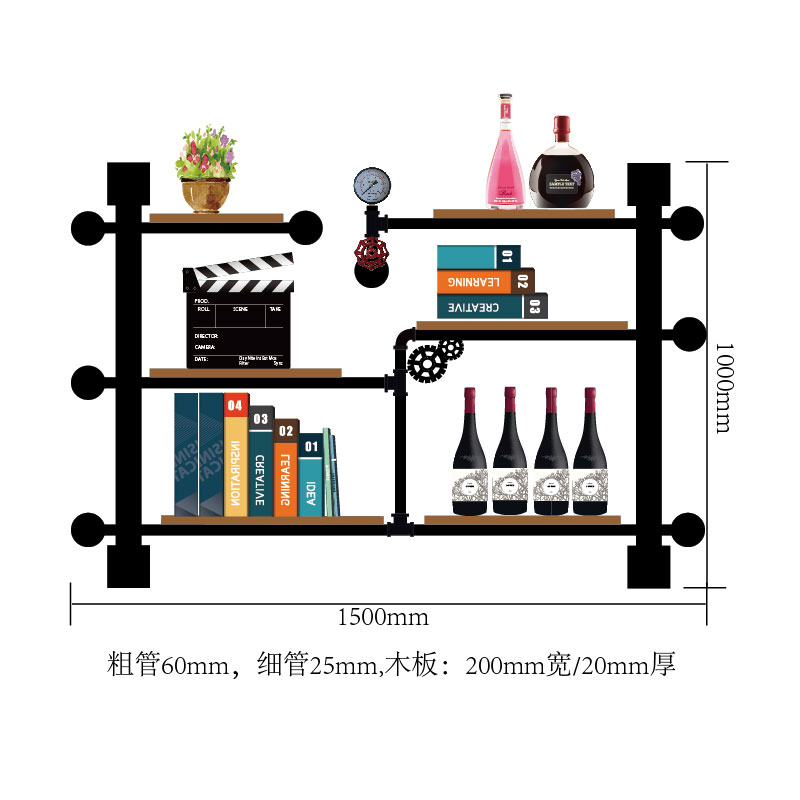 Iron Frame Restoration Industrial Style Red Wine Rack/shelf Wall Decoration Wall Hanging Bookshelves/solid Wood, Water Pipe