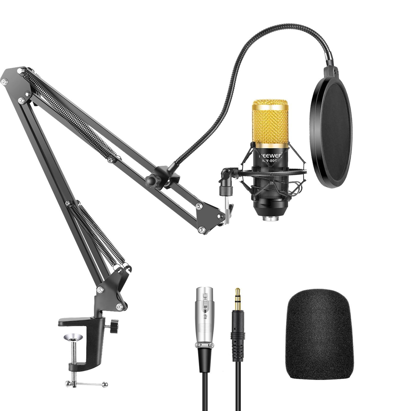 Neewer NW-800 Профессиональный Студийный конденсаторный микрофон и NW-35 Регулируемая записывающая микрофонная подвеска с креплением на удар