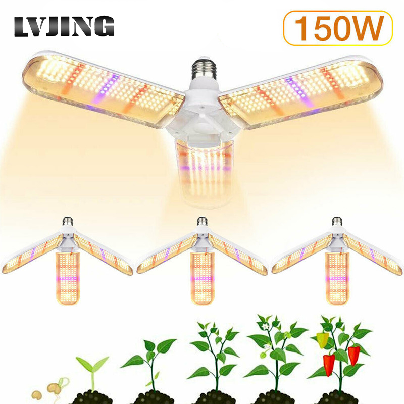 4pcs 2pcs 1pcs E27 LED Grow Light 150W Full Spectrum Growth Lamp Bulbs Waterproof For Indoor Outdoor Greenhouse Plant Flower Veg