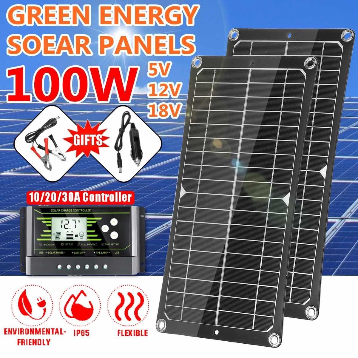 100w 18v painel solar flexível monocristalino duplo usb 12v/5v dc com 10/20/30a controlador para o carregador do barco da bateria do iate do carro